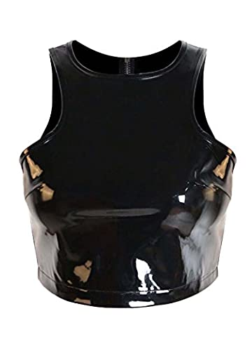 Kimring Women's Sexy Black PVC Faux Leather Clubwear Tank Tops Black XX-Large - Black Pvc Vinyl Mini