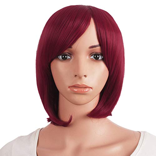 MapofBeauty 12 Inch/30cm Women Short Straight Cosplay Party BOB Wig (Blood Red) (Beautiful Wig)
