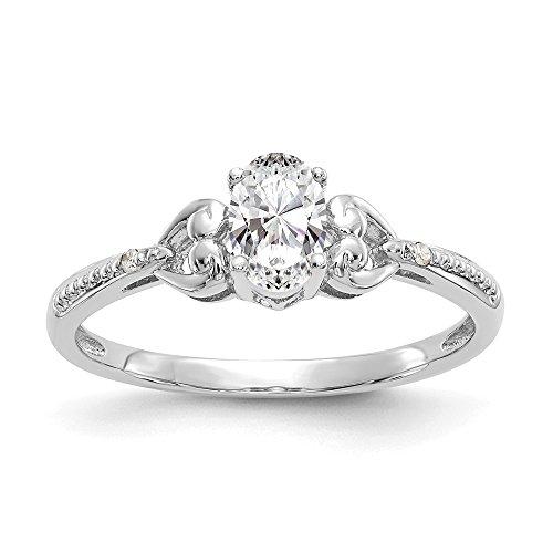 10k White Gold Polished Open back White Topaz Diamond Ring