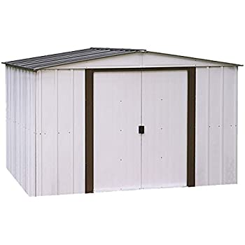 Arrow 10 x 8 Newburgh Eggshell with Coffee Trim Low Gable Electro-Galvanized Steel Storage Shed