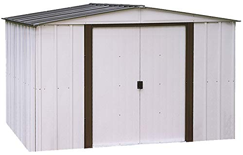 Garden and Outdoor Arrow 10′ x 8′ Newburgh Eggshell with Coffee Trim Low Gable Electro-Galvanized Steel Storage Shed outdoor storage sheds