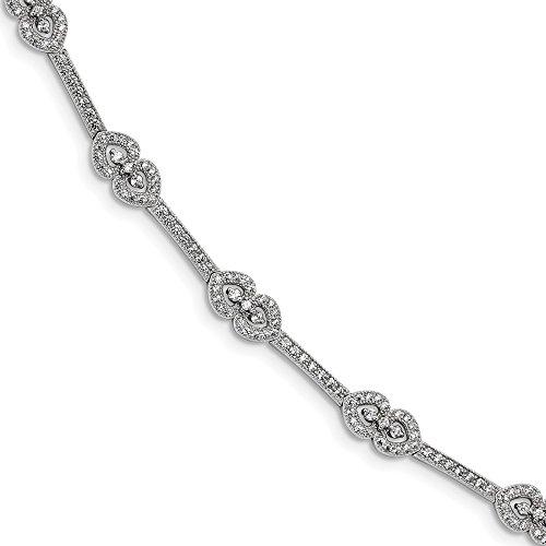 Sterling Silver CZ Brilliant Embers Polished Bracelet Solid 5 mm 7 in 7 mm CZ Bracelets Bracelets Jewelry