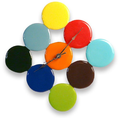 American Made Fused Glass Bubble Dot Wall Clock, Multi-color Blend, 14
