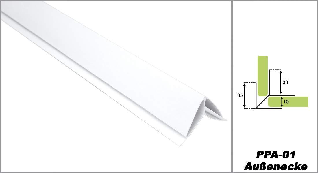 Zubehö r fü r PVC Paneele Bretter Platten Wandverkleidung PP10-01 PP16-01 weiß , Modell:PPE - Endprofile HEXIM