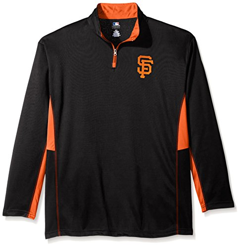 San Francisco Giants Logo Jersey - MLB San Francisco Giants Men's Long Sleeved Quarter Zip Poly Jersey with Logo Embroided, 4X/Tall, Black