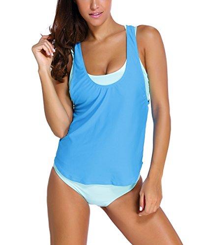 nuoreel Womens rayas Lined Up doble UP Tankini parte superior de baño (FBA) Azul