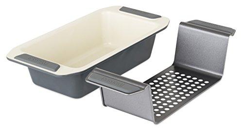 Viking 4040-3209-CGY Ceramic Nonstick Bakeware Meatloaf Pan w/Rack, 9 Inch