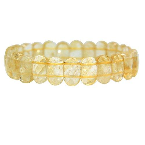 (Natural Citrine Gemstone 14mm Faceted Oval Beads Stretch Bracelet 7
