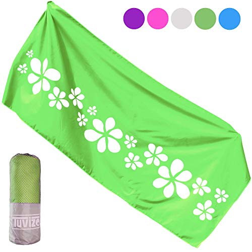 Microfiber Towel for Beach Gear Camping Travel Pool Swimmers Hiking Sport Camp Motorhome RV or Cruise Accessories. Best Gifts for Women Mum Teens Girls. Quick Dry Sandfree Beach Towels Green 71x31 XL