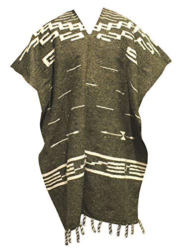 Del Mex Clint Eastwood Spaghetti Western Cowboy Poncho Costume Sweater Handwoven Made in Mexico (Olive Green)