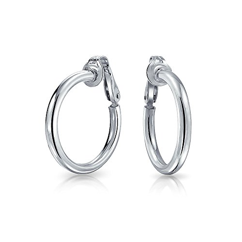 Simple Polished Clip On Tube Hoop Earrings For Women Non Pierced Ears 925 Sterling Silver Brass Clip .75 Dia ()