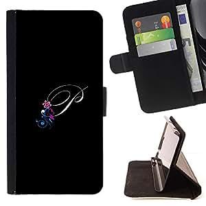 For LG G2 D800 Case , P Negro Iniciales de la letra de la caligrafía del texto- la tarjeta de Crédito Slots PU Funda de cuero Monedero caso cubierta de piel