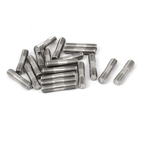 (uxcell M8x35mm 304 Stainless Steel Double End Thread Stud Teeth Rod Silver Tone 20pcs)