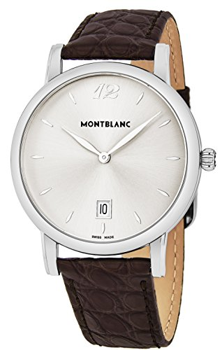 Montblanc Star Classique Date Stainless Steel Brown Leather Mens Watch 108770 (Montblanc Watches Men For)