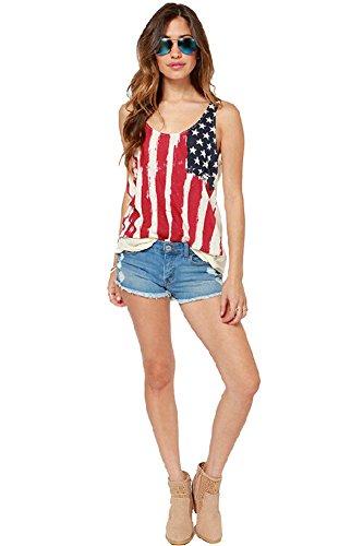 Women's USA Flag Printing Vest T-shirt Sleeveless Chiffon Top My Wonderful World Small (Charlie Sheen Bowling Shirts Sale)