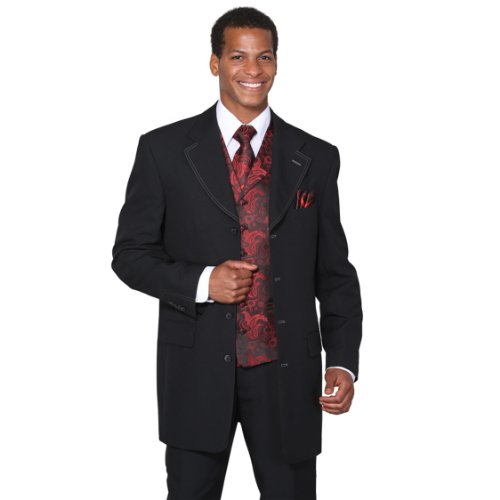 Milano Moda Single Breasted,Double Vent,High Fashion Suit with Matching Vest, Tie & Hankie 48Long - Vent Double