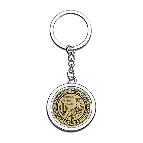 CU-Boulder University of Colorado Boulder Badge Keychain 3D Crystal Creative Spinning Round Stainless Steel Keychain Travel Souvenir Key Chain Ring -