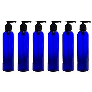 Amazon.com: 8 oz azul cobalto botellas Slim mascota plástico ...