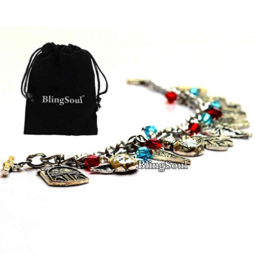 [BlingSoul Star Wars Theme Charm Bracelet - New BB8 Robot, Darth Vader, Yoda, Jedi Knight Logo Bracelet Jewelry] (Tin Foil Robot Costume)