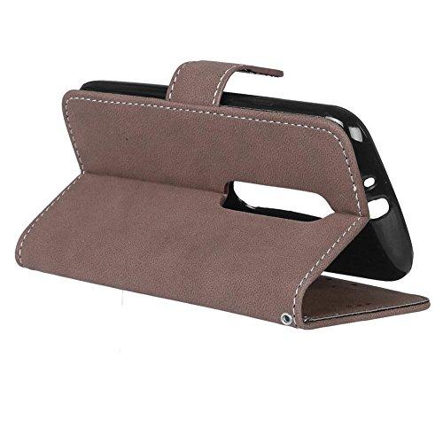 YHUISEN Estilo retro de color sólido Premium PU cuero Wallet caso Flip Folio cubierta protectora de la caja con ranura para tarjeta / soporte para Motorola Moto G3 ( Color : Purple ) Brown