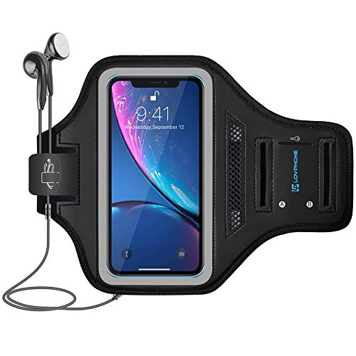 LOVPHONE Armband for iPhone XR /11 /SE2 /11R, Waterproof Sport Outdoor Gym Running Key Holder Card Slot Phone Case Bag Armband,Water Resistant and Sweat-Proof (Gray)