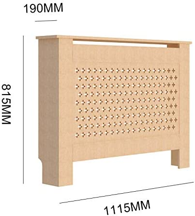 fam famgizmo Cross Pattern Radiator Covers Cabinet Modern Home Furniture MDF UnPainted Heater Cabinet - Medium W112.5xH81.5xD19cm