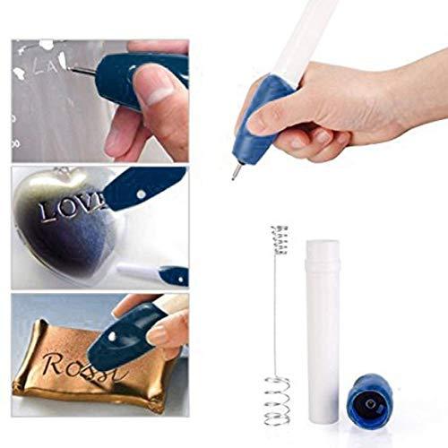 IIfreesia Professional Graveur É lectrique Automatique Mini Gravure Stylo Bricolage Outil de Sculpture Machine pour Bijoux En Mé tal En Plastique Verre Bois (blanc et bleu)