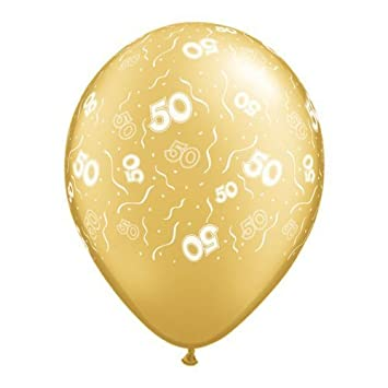 Pack Of 25 GOLD 50 PRINT 50th Birthday Anniversary Latex Balloons
