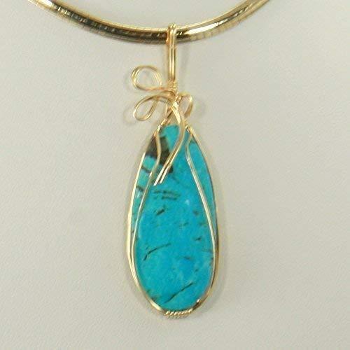 Kingman Turquoise Gemstone 14k Gold Pendant Enhancer Wire Wrap Necklace - Omega 14k Necklace