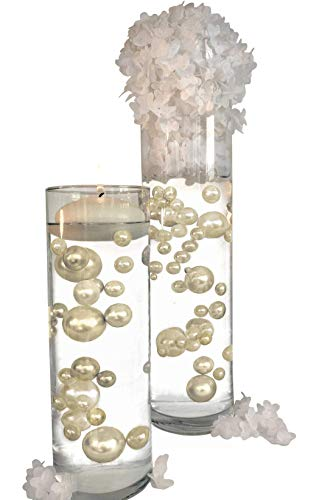 2 Packs Sale NO Hole Ivory Pearls - Jumbo/Assorted Sizes Vase Decorations - to Float The Pearls Order The Floating Packs from Options Below (For Centerpieces Sale Party)