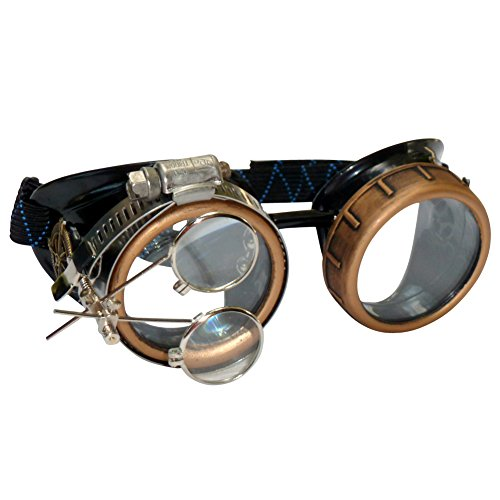Steampunk Goggles Rave Glasses with Compass Design, Handcrafted Victorian Style, Double Ocular Loupe Gold-Clear]()