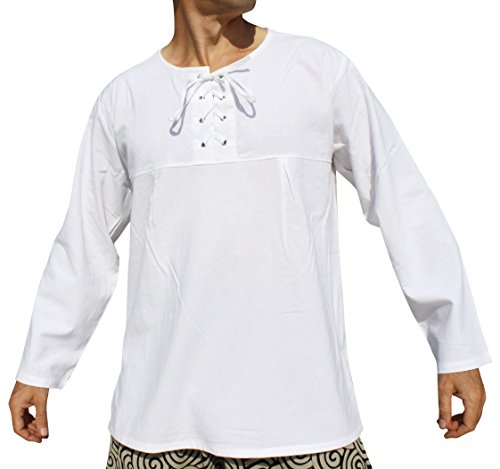 Raan Pah Muang Cotton Open Collar Renaissance Shirt Long Sleeve Plus Size, XXXX-Large, White by Raan Pah Muang