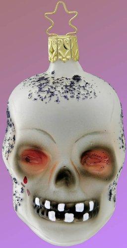 Inge Glas Halloween Skully 1-049-08 German Blown Glass Christmas Ornament]()