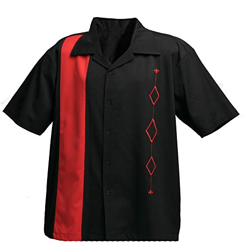 Designs by Attila Mens Retro Bowling Shirt, Red & Black, Size -