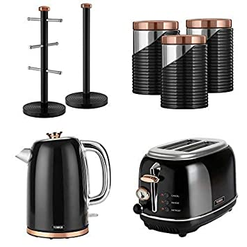 Set Of 7 Rose Gold Black Tower Retro Stylish Kitchen Small