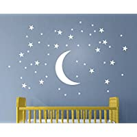 Melissalove 50 Stars And Moon Wall Stickers For Kids Room...