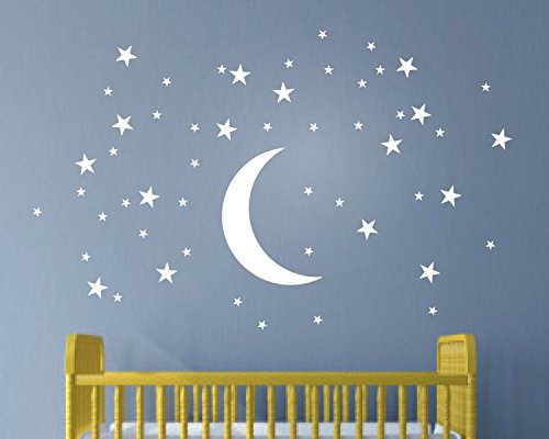 Creative Kids Wallpaper (Melissalove 50 Stars And Moon Wall Stickers For Kids Room Creative White Stars Baby Wall Decals Nursery Wall Art Decor Mural Wallpaper D857 (White))