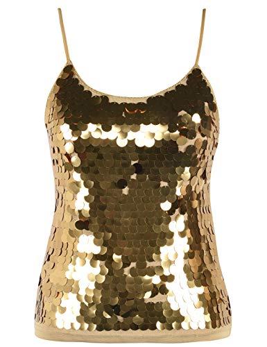 PrettyGuide Women's Sequin Vest Top Spaghetti Strap Camisole Sparkle Party Tank Top S Gold