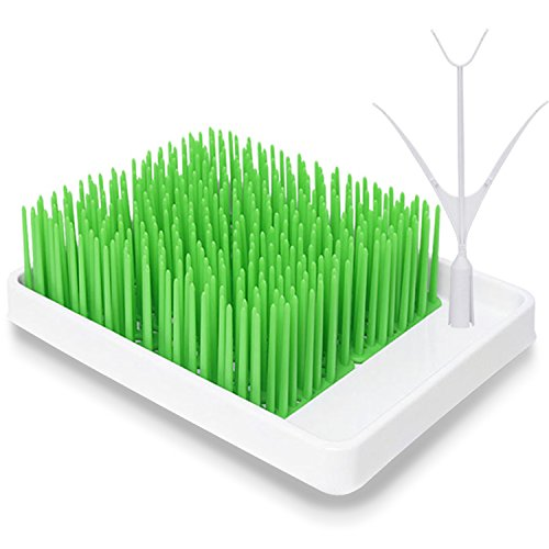 Grass Countertop Drying Rack Set BPA-Free Safe Green Bottle Drying Rack with Twig Bottle Drying Grass Accessories Support Organizer Drying Grass for Baby Bottles,Infant Dishes,Accessorice ()