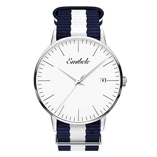 Emibele Mens Quartz Watch, Business Casual Fashion Waterproof 50M Water Resistant Quartz Wristwatch with Striped Nylon Band and Calendar Date Window for Men - Silver Dial + Blue & White Band -