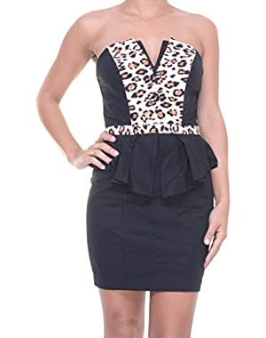Guess Strapless Animal-Print Peplum Dress Size 6
