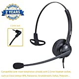 2.5mm Headset with Microphone Call Center Phone Headset Noise Cancelling for Panasonic Polycom