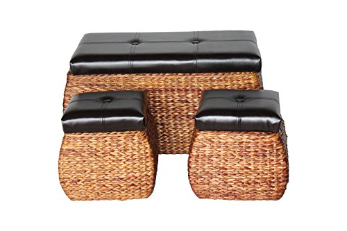 Attraction Design Set of 3 Storage Bench PU Leather Lift Top Woven Ottoman
