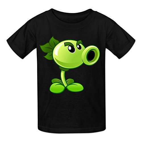 Kidsloveit Kids Boys' Plants Vs Zombies Peashooter Graphic Tees T-Shirts S Black (Plants Vs Zombies Kind)