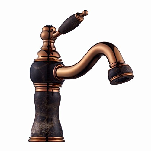 AQMMi Bathroom Sink Mixer Tap Brass Jade Antique Hot and Cold Water Gilded Single Hole Taps for Bathroom Sink