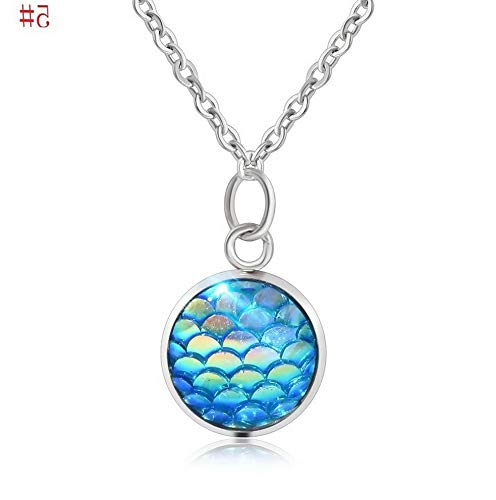 Hebel New Design Mermaid Scale Resin Charm Pendant Alloy Chain Necklace Women Jewelry | Model NCKLCS - 32390 |