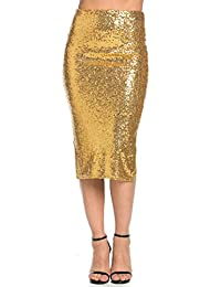 Sequin Midi Skirt in Gold (S-XL)