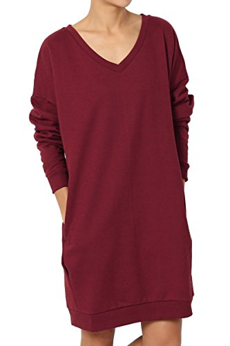 - TheMogan Women's Casual V-Neck Pocket Loose Sweatshirt Tunic Burgundy 1XL