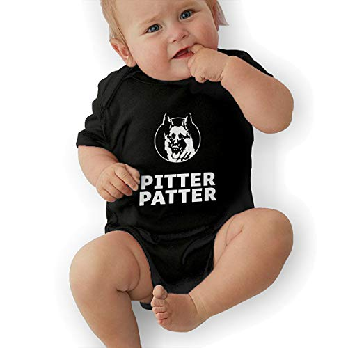 LOSPAPA Pitter Patter Baby Short Sleeve Romper Onesies Clothes for 0-24m Newborn Baby Black