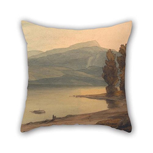 Oil Painting Francis Towne - Windermere at Sunset Pillow Cases 20 X 20 Inches / 50 by 50 cm for Deck Chair Christmas Saloon Car Festival Club with Two Sides]()